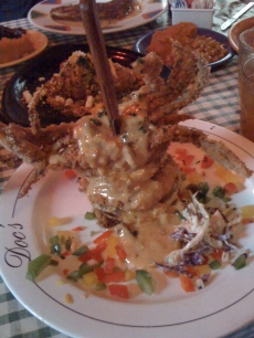 Soft shell crab. Fried green tomatoes. Boudin.